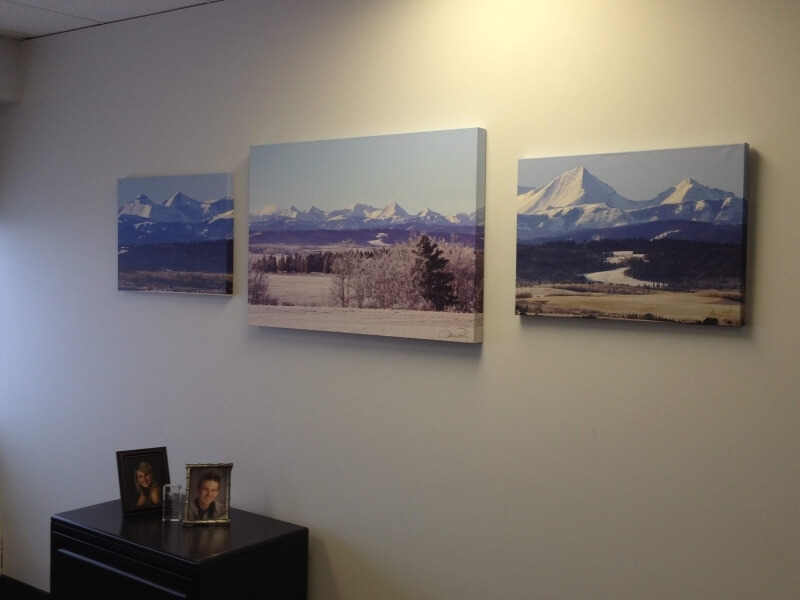 Interior Design - custom photo art on canvas of 3 part shot of foothills viewed from Calgary city limits